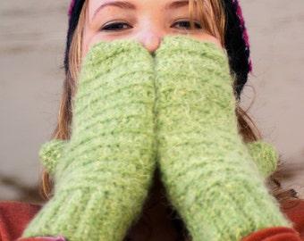 Green Crochet Handmade Mittens