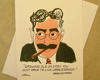 Groucho Marx Birthday Card. Groucho Quote. Regular size card and mini-version. A Lunar Eclipse cartoon birthday card.