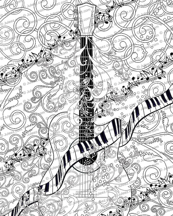 printable coloring pages guitar - photo#44