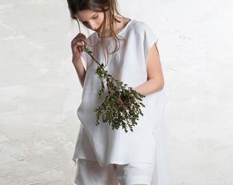 Linen tunic women, 15 colors, Linen women's top, White linen blouse, Linen summer clothing, Sleeveless linen shirt for woman, White tunic