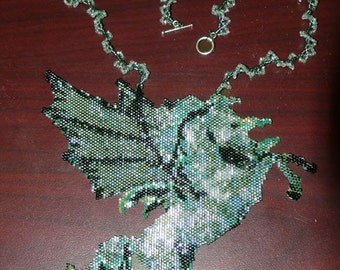 Green Pegasus Beadwoven Necklace