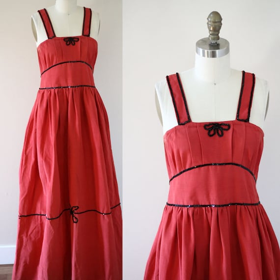 1950s red maxi dress // 1950s sequin bow dress // vintage dress