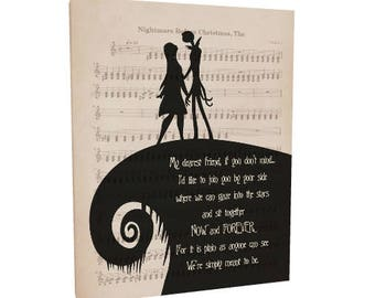 """The Nightmare Before Christmas Art Wrapped Canvas Jack and Sally """"My dearest friend"""" Quote Canvas Jack and Sally Wall Art Wedding Decor Gift"""