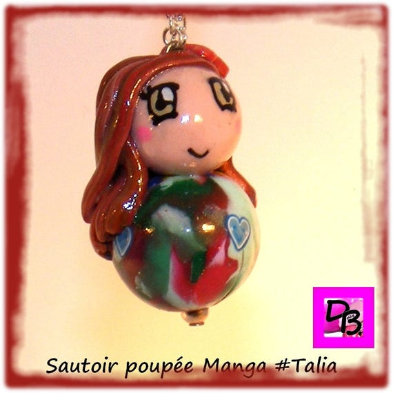 Doll, kawaii, young gift necklace, necklace, jewelry polymer creation DollyDoo child accessory, kids fashion, Talia