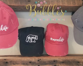 Mom Hats- #momlife-  mama bear -crazy football mama-red,black,nickel,camo,lt olive distressed