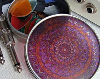 Mandala Travel Tin in Purple and Orange - Bohemian Stash Box With Transparent Geometric Suncatcher Lid - Pillbox - Party Favor