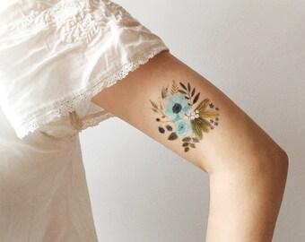 Blue Flora temporary tattoo