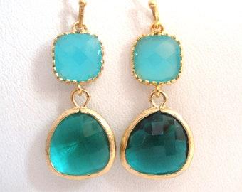 Blue Earrings, MInt Blue Gold Green Earrings, Glass Earrings, Wedding, Bridesmaid Earrings, Bridal Earrings Jewelry, Bridesmaid Gifts