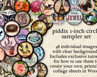 Best Selling Sampler Set 1-inch circles -- 48 separate circles with clear backgrounds AND digital collage sheet -- piddix 894b