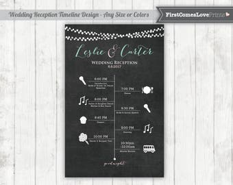 Wedding Reception Timeline ~ Chalkboard Style Schedule for Guests ~ Big Day Timeline ~ Poster or Card Size JPEG or Printed Choose Any Colors