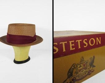 Vintage Stetson Panama Hat 1950s Dark Straw Burgundy Ribbon - Size 7 1/4