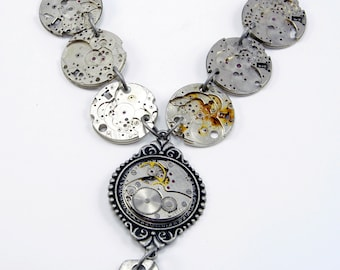 """Steampunk Necklace with Vintage Watch  """"skeletons"""" and Fob"""