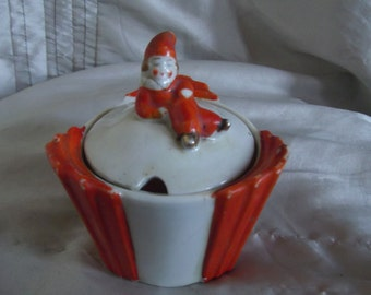 1920s Art Deco style jam jar / cruet with Pierrot clown