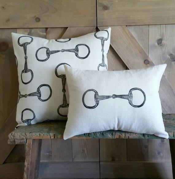 Equestrian Pillow Set of 2- handprinted Egg Butt Snaffle Bit
