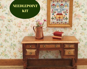 Home sweet home, 1:12 miniature sampler, Needlepoint kits, Dollhouse Home sampler, petite point, Embroidery sampler kit, Dolls house picture