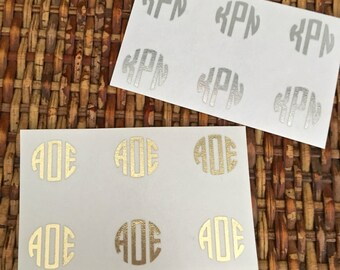 """Gold or Silver Foil Monogram Minis (1/2"""" circle decals) - Set of 6, 10 or 20 - use on sunglasses, pens/pencils, phone/tablet cases and more!"""
