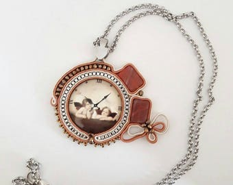 Necklace with charm Soutaches Angels-cherubs, clock, faux clock, beige and clay color
