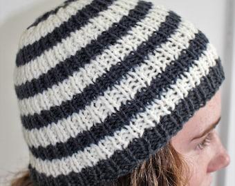 Slate Grey & Cream Striped Hat