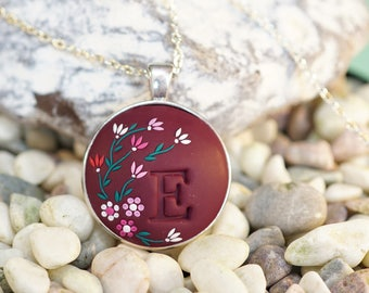 Personalized initial necklace, burgundy embroidered necklace, bridesmaid gift, personalised gift, letter, colorful necklace, dark red