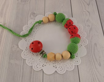 Wooden pacifier clip for girl Crochet pacifier Watermelon toy Beaded pacifier clip Dummy clip Baby pacifier holder Montessori baby toys