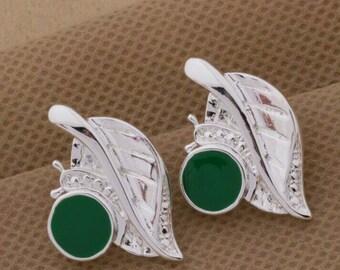 Green Snail Leaf Earring Necklace Sterling Silver Jewelry Set