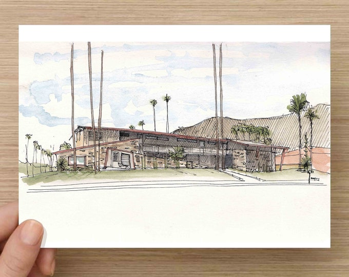 Pen and Ink and Watercolor Painting of Del Marcos Hotel in Palm Springs, California - Architecture, Mid Century Modern, Drawing, Art