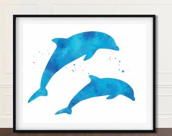 Nursery Dolphin Art, Dolphin, Beach House Decor, Dolphin Artwork, Dolphin Wall Art, Dolphin Art, Dolphin Prints, Dolphin Watercolor