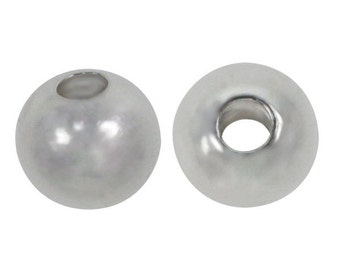 10 Sterling Silver, 5mm shiny round beads with 2.2mm hole for Jewellery Making Mala Making Silver Spacer Beads