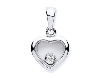 9ct White Gold Floating Diamond Small Heart Pendant