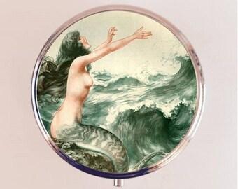 Parisian Mermaid Pill Box Case Pillbox Holder Trinket Stash Box French Art Deco Siren 1920s