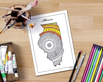 Coloring Pages United States : Map coloring page etsy