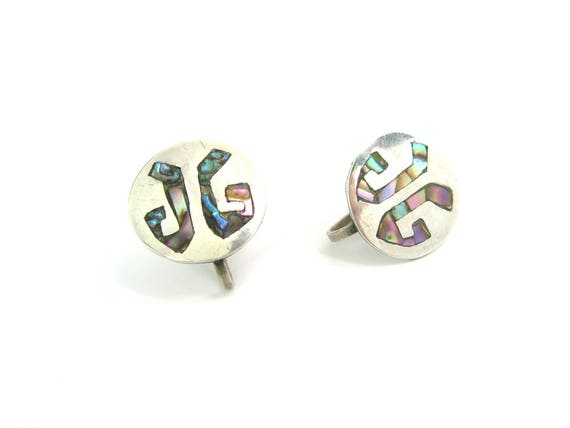 "Vintage Taxco Sterling Silver Monogram Earrings w/ Abalone Shell Inlay ""JG"""