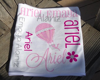 Personalized Hot Air Balloon Baby Blanket - Hot Air Balloon Receiving Blanket - Baby Name Blanket - Newborn Swaddling Blanket - Baby Gift