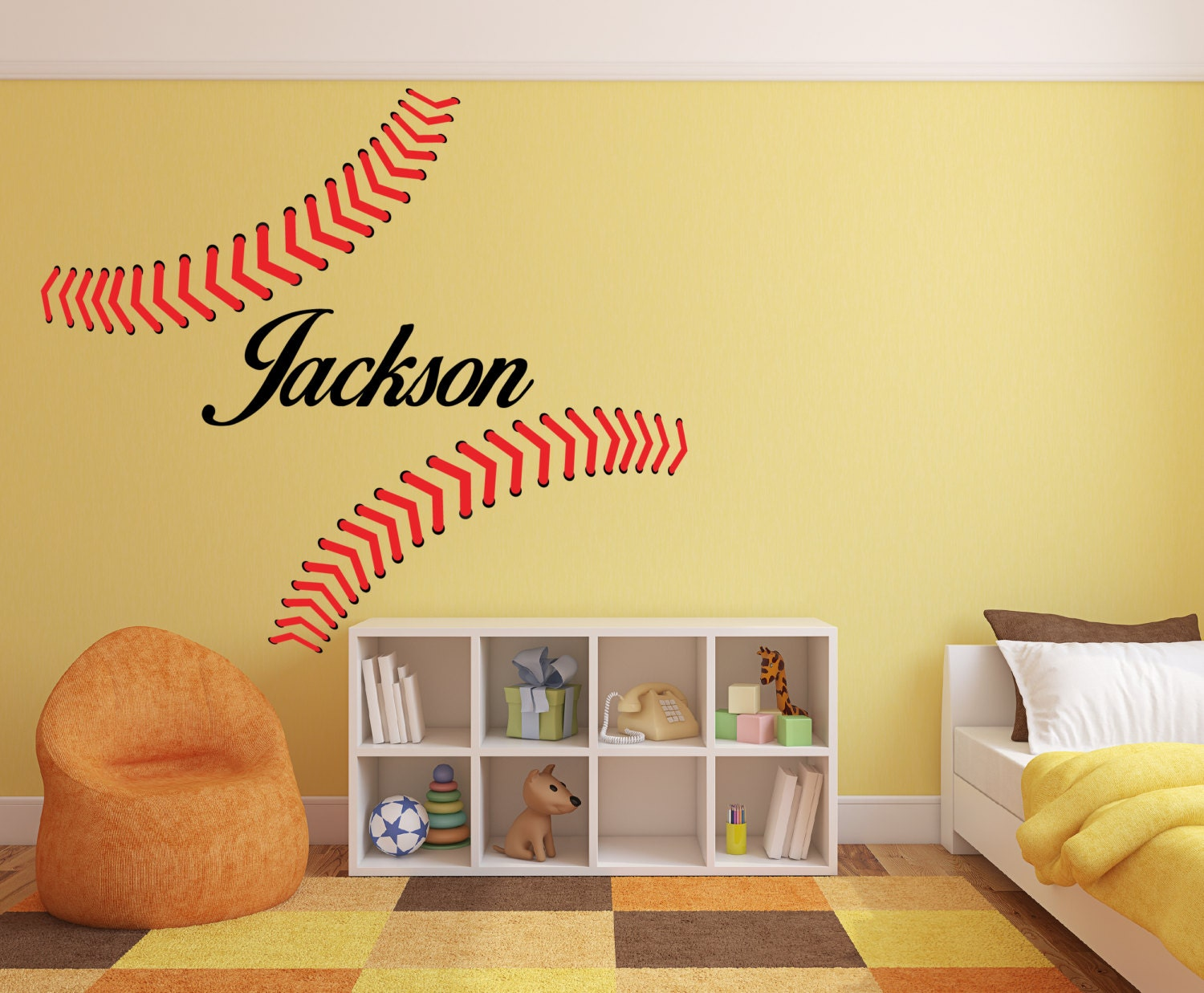 Personalized Baseball Stitches Seams with your Name Wall Decor