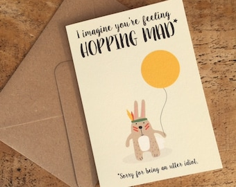 Sorry Card / Idiot Card / Bunny Rabbit Card