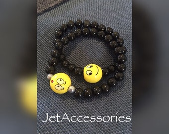 Emoticon, Emoji novelty Bracelet, Black onyx beads, Beaded bracelet, fun bracelet, funny gift, yellow emoji, smiley face bracelet