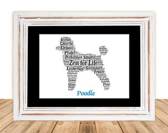 Poodle, Poodle art, Custom, Personalize, Pet Gift, Gifts Under 25, Dog Art, Pet Art, Pet Love