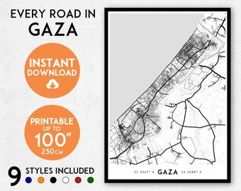 Gaza map print, Printable Gaza Strip map art, Gaza print, Palestine map print, Gaza art, Gaza poster, Gaza wall art, Gaza gift, Map of Gaza