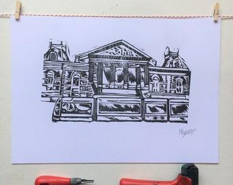 A3 Linocut Print,Amsterdam, Concertgebouw, Art, Home Decor, House Warming Gift