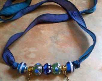 Beautiful Silk Ribbon Bracelet/Necklace With Pretty Dragonfly