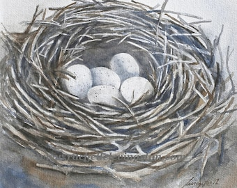 mom Gift for her nest painting of nest PRINT of nest 5 eggs Gray nuetral decor spring decor birds nest PRINT neighbor gift for grandma