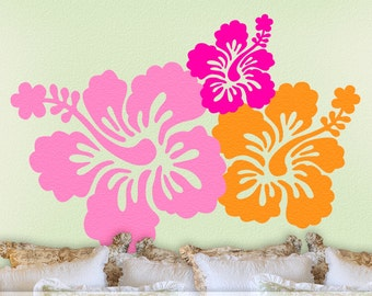 Tropical Decor   Hibiscus Decal   Hawaiian Flowers   7 Hibiscus Wall Decals   Tropical Wall Decal   Hawaii Wall Decal   Vinyl Wall Decals