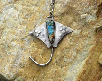 sterling stingray necklace with sterling opal