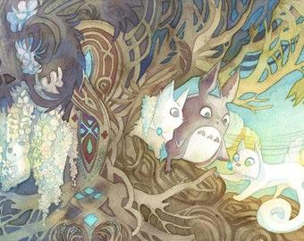 Totoro & Pangur Bán Cat (Studio Ghibli / Miyazaki x Secret of Kells Crossover) Art Nouveau 10x20 Poster