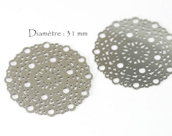 4 prints round stainless - diameter: 31 mm - silver color