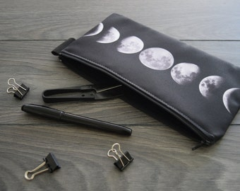 lunar phase - lined twill pencil case - double sided print