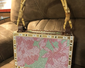 Sparkly upcycled Cigar Box Purse