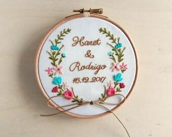 Custom Floral Wedding Ring Holder, Floral Wedding Embroidery Hoop, Personalized Wedding Ring Bearer, Custom Floral Anniversary Wedding Gift