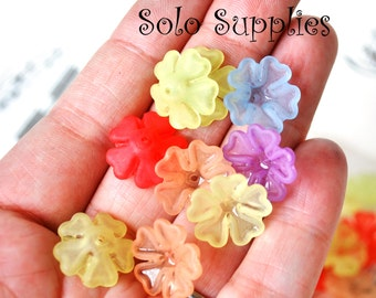 20 16x6mm Puckered Frosted Flower Beads