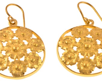 Eight flowers goldplated Silver earrings 925 Sterling Silver Gold Earrings 27 mm round (No. OSG-36)